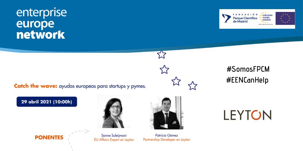 Cartel de la sesión Catch the wave: ayudas europeas para start-ups y pymes